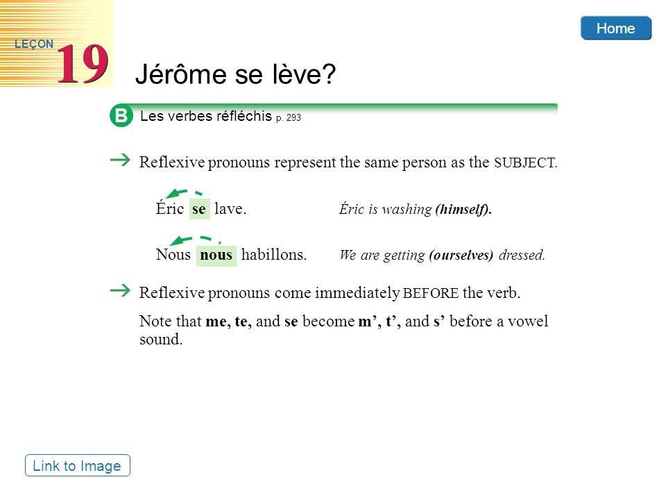 Home Jérôme se lève? 19 LEÇON B Les verbes réfléchis p. 293 Reflexive pronouns come immediately BEFORE the verb. Note that me, te, and se become m, t,