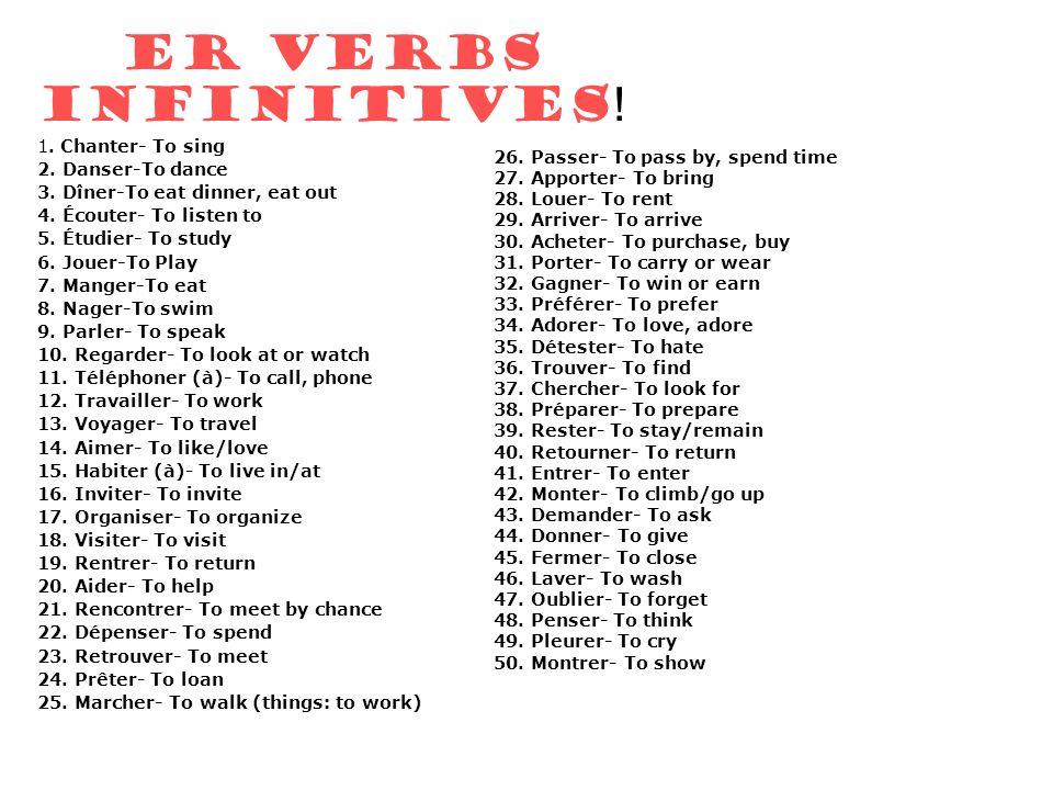 ER VERBS INFINITIVES ! 1. Chanter- To sing 2. Danser-To dance 3. Dîner-To eat dinner, eat out 4. Écouter- To listen to 5. Étudier- To study 6. Jouer-T
