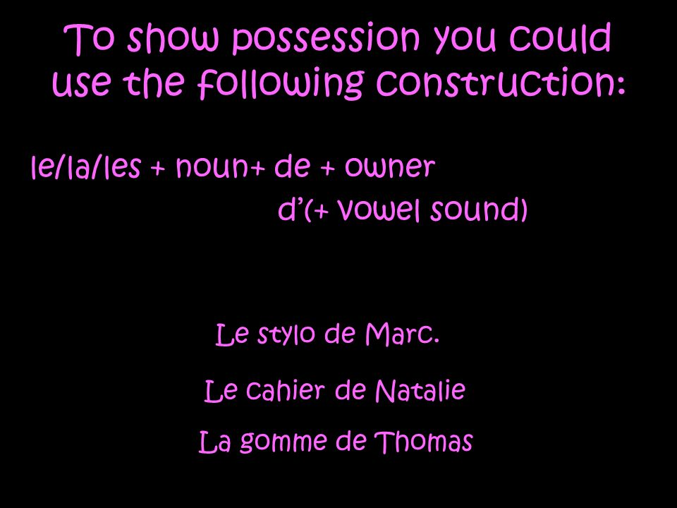 The same construction is used to express relationship Cest le copain de Daniel – Thats Daniels friend Cest la mère de Paul – Thats Pauls mother Cest le voisin de Véronique - Thats Véroniques neighbor
