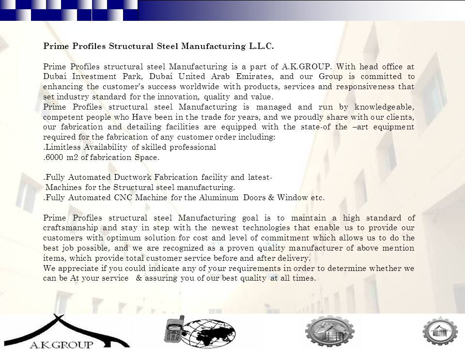 11 Prime Profiles Structural Steel Manufacturing L.L.C.