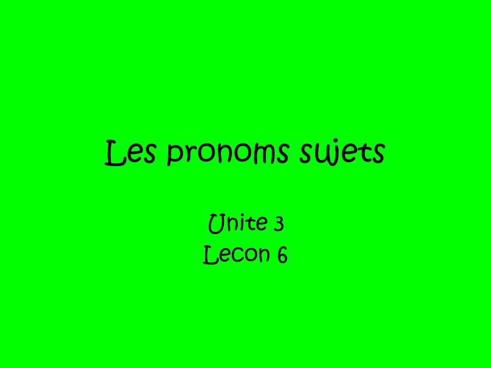 Les pronoms sujets Unite 3 Lecon 6
