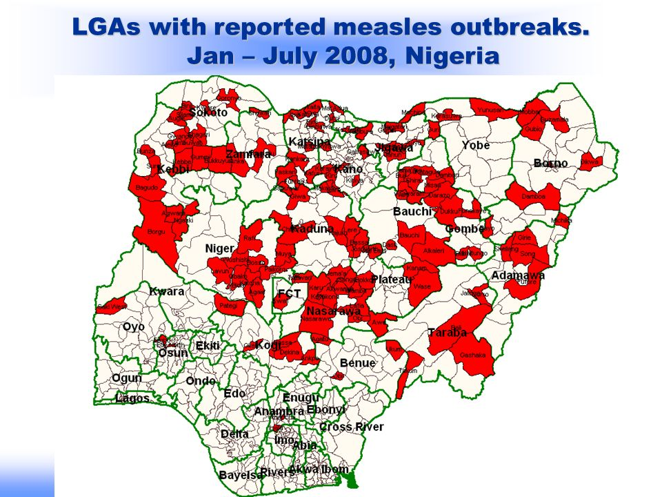 Bureau Régional de lOMS pour lAfrique /WHO Regional\Office for Africa LGAs with reported measles outbreaks. Jan – July 2008, Nigeria