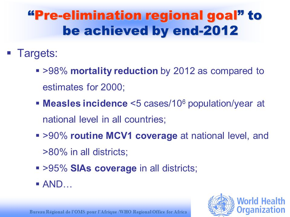 Bureau Régional de lOMS pour lAfrique /WHO Regional\Office for Africa Pre-elimination regional goal to be achieved by end-2012Pre-elimination regional