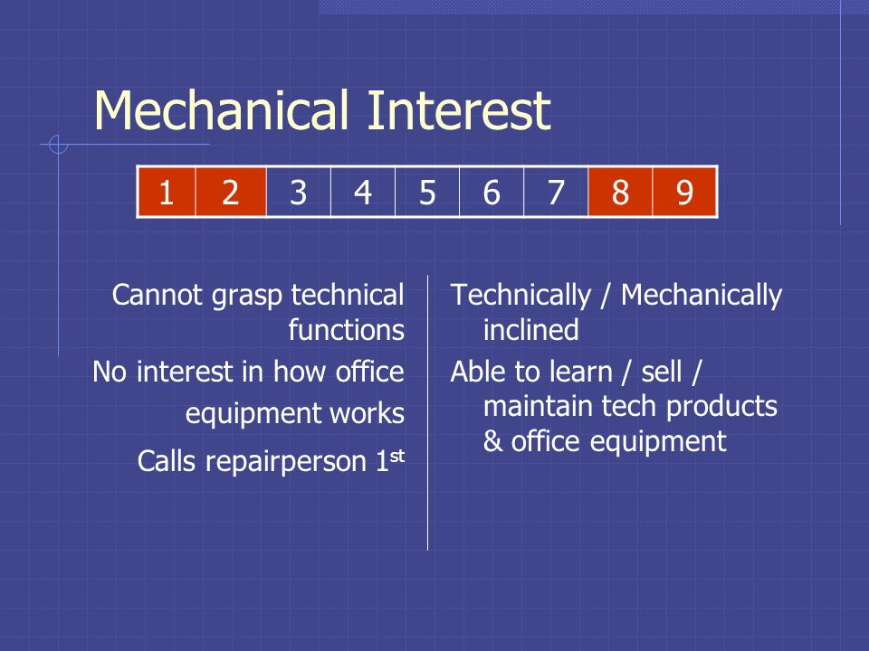 Mechanical Interest Desire to understand how things work Willingness to learn technical language Facility with office equipment