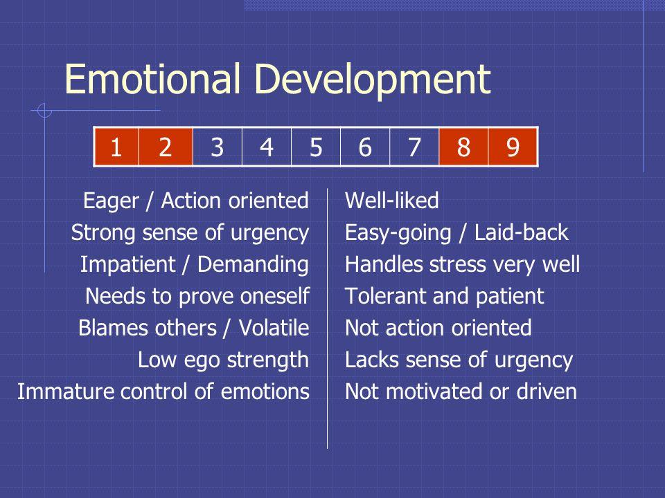 Emotional Development Sense of Urgency Ability to adjust to emotional stress Level of goal-orientation Level of self-esteem Age impacted