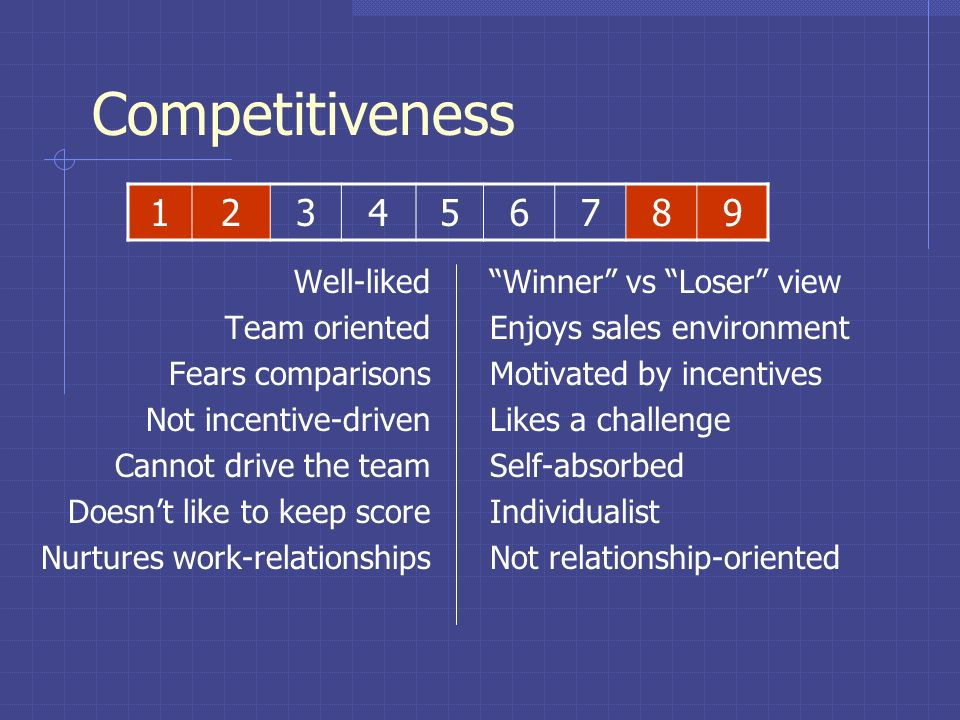 Competitiveness Team compatibility Response to incentives Need for individual achievement Relationship orientation