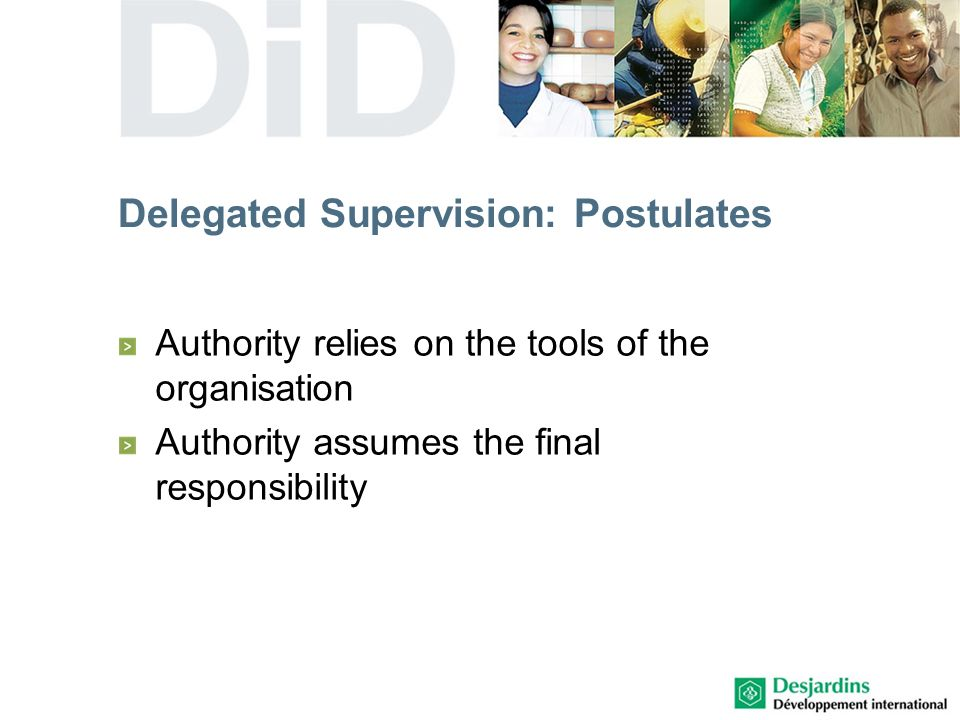 Delegated Supervision: Postulates Authority relies on the tools of the organisation Authority assumes the final responsibility