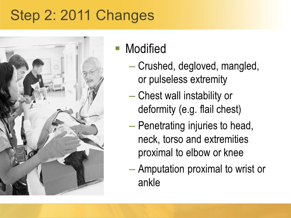 Modified – Crushed, degloved, mangled, or pulseless extremity – Chest wall instability or deformity (e.g.