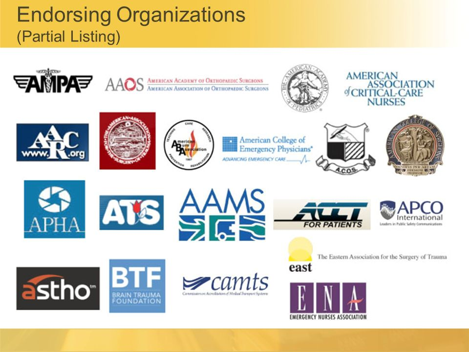 Endorsing Organizations (Partial Listing)