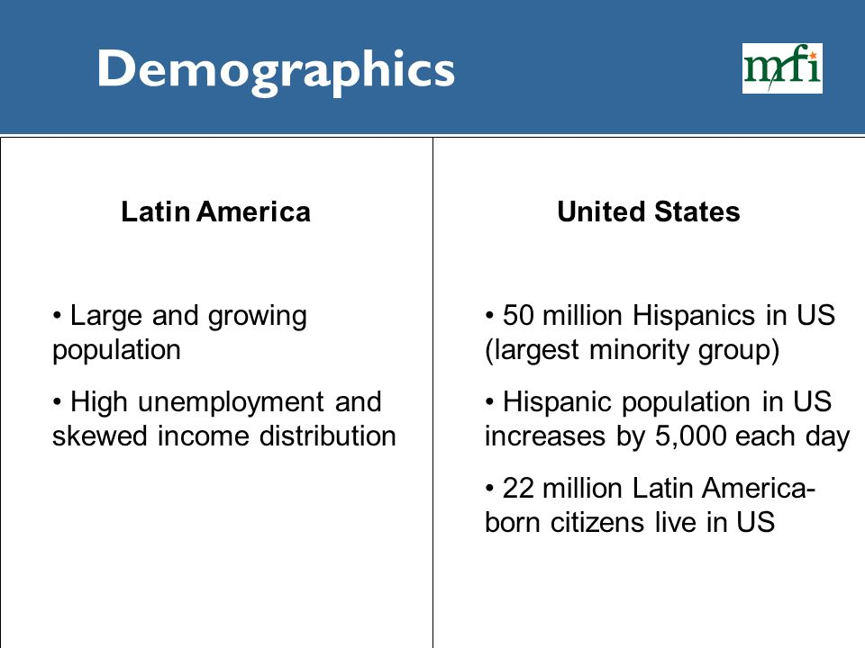 Demographics Latin America Large and growing population High unemployment and skewed income distribution United States 50 million Hispanics in US (lar