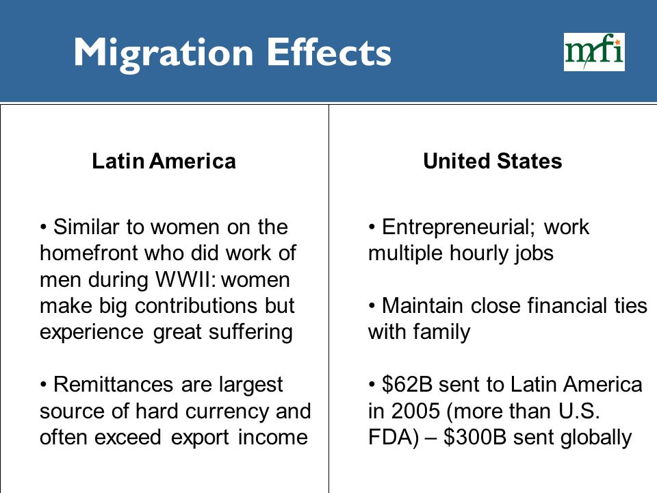 Migration Effects Latin America Similar to women on the homefront who did work of men during WWII: women make big contributions but experience great s