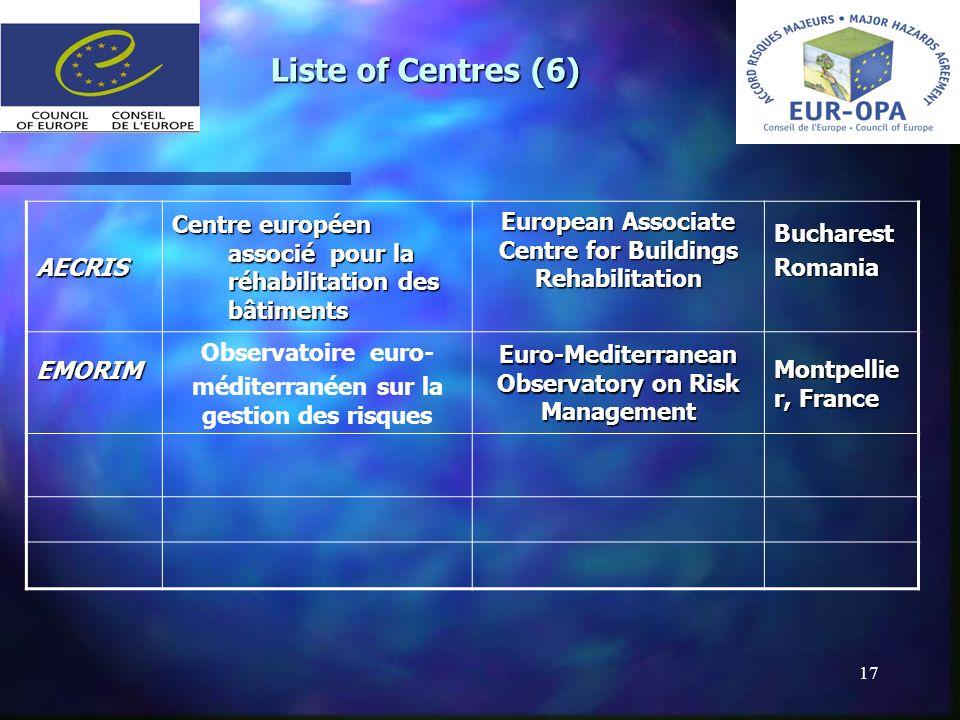 17 Liste of Centres (6) AECRIS Centre européen associé pour la réhabilitation des bâtiments European Associate Centre for Buildings Rehabilitation Buc