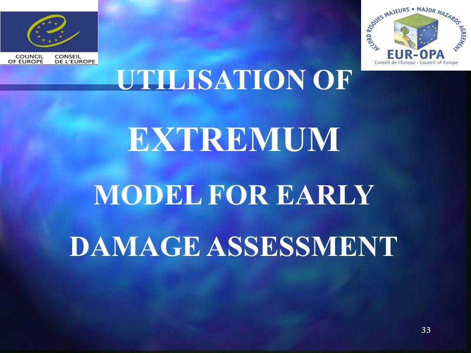 33 UTILISATION OF EXTREMUM MODEL FOR EARLY DAMAGE ASSESSMENT