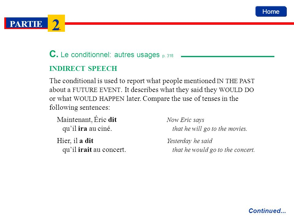 Home PARTIE 2 C. Le conditionnel: autres usages p. 318 Continued... INDIRECT SPEECH The conditional is used to report what people mentioned IN THE PAS