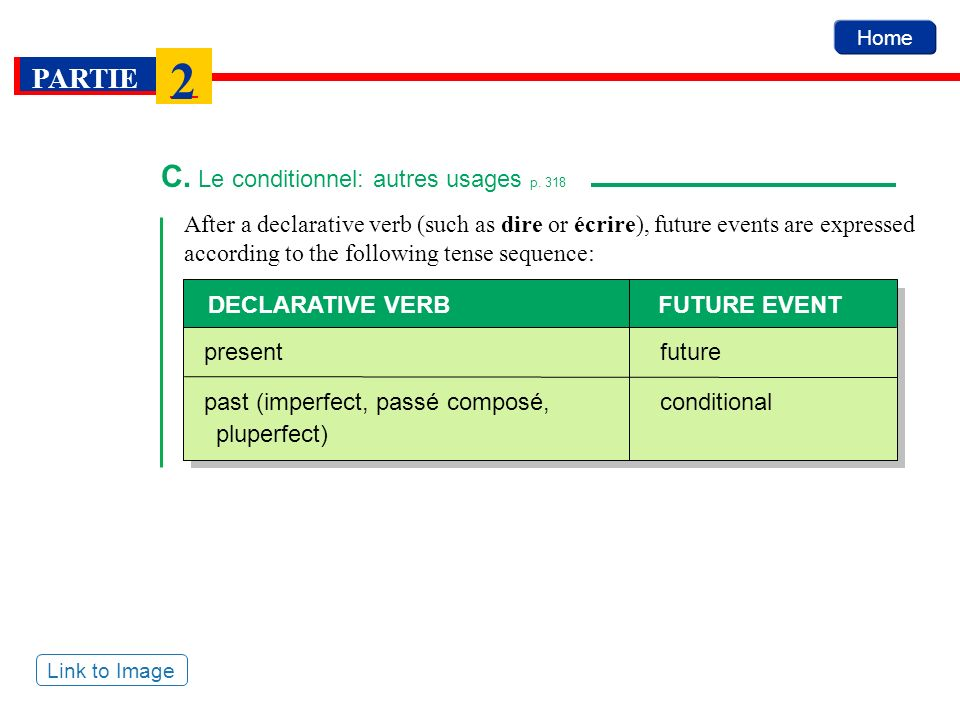 Home PARTIE 2 After a declarative verb (such as dire or écrire), future events are expressed according to the following tense sequence: C. Le conditio