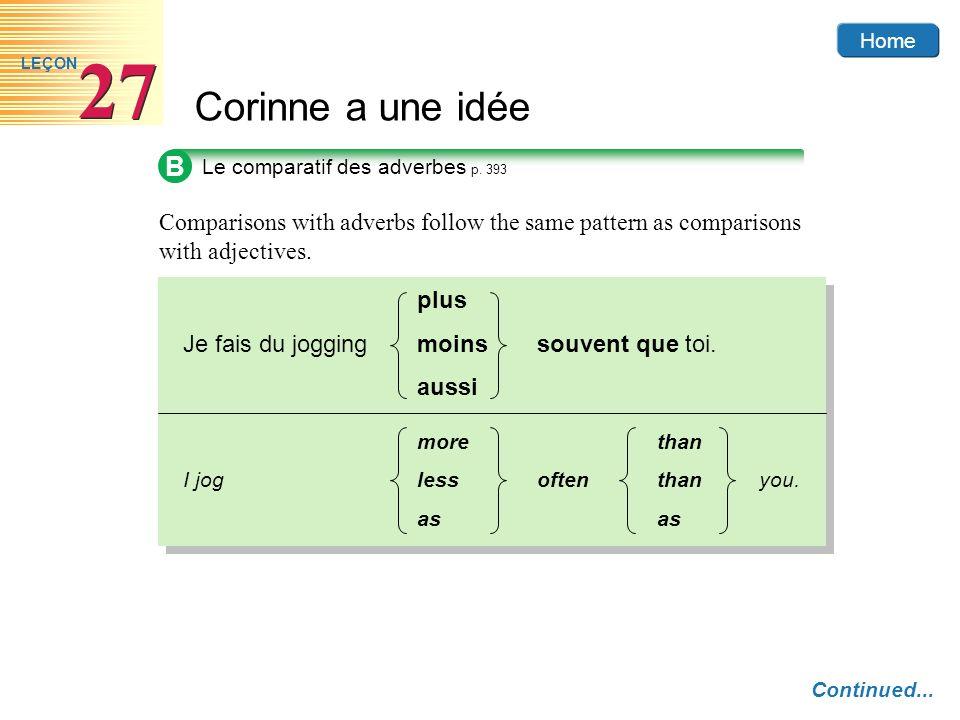 Home Corinne a une idée 27 LEÇON B Comparisons with adverbs follow the same pattern as comparisons with adjectives. Le comparatif des adverbes p. 393