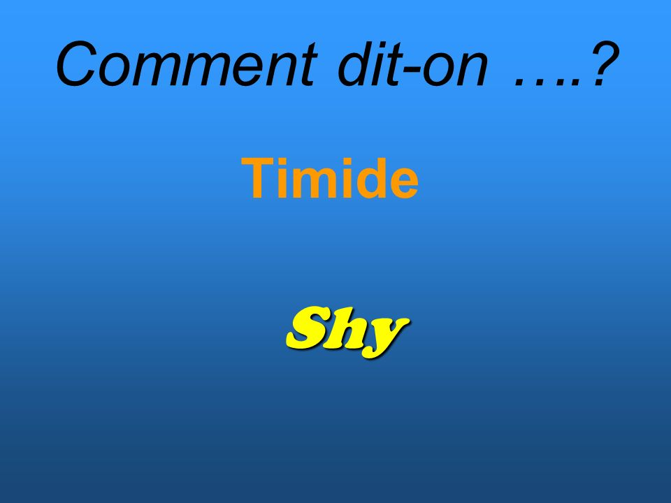 Comment dit-on ….? Timide Shy