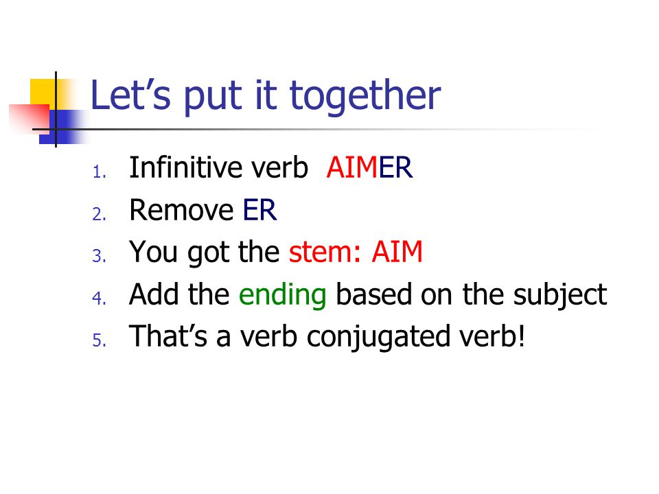 Lets put it together 1. Infinitive verb AIMER 2. Remove ER 3.