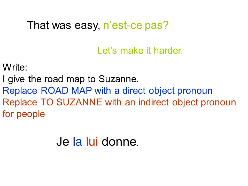 That was easy, nest-ce pas? Lets make it harder. Write: I give the road map to Suzanne. Replace ROAD MAP with a direct object pronoun Replace TO SUZAN