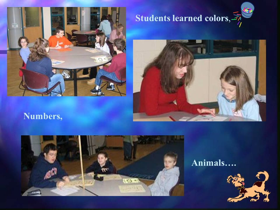 Students learned colors, Numbers, Animals….