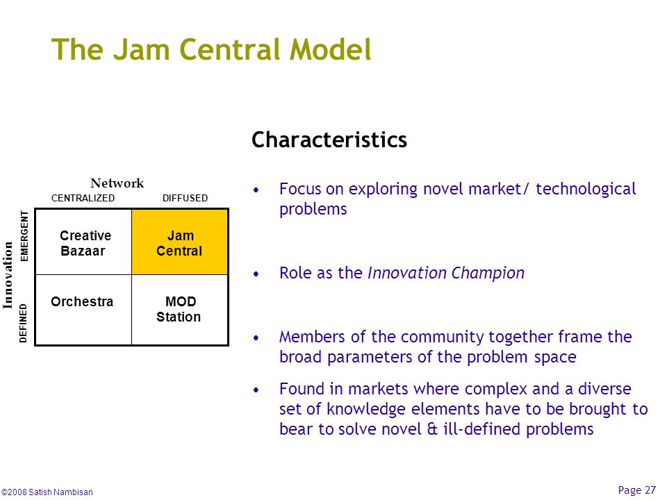 ©2008 Satish Nambisan Page 27 The Jam Central Model Characteristics Focus on exploring novel market/ technological problems Role as the Innovation Cha