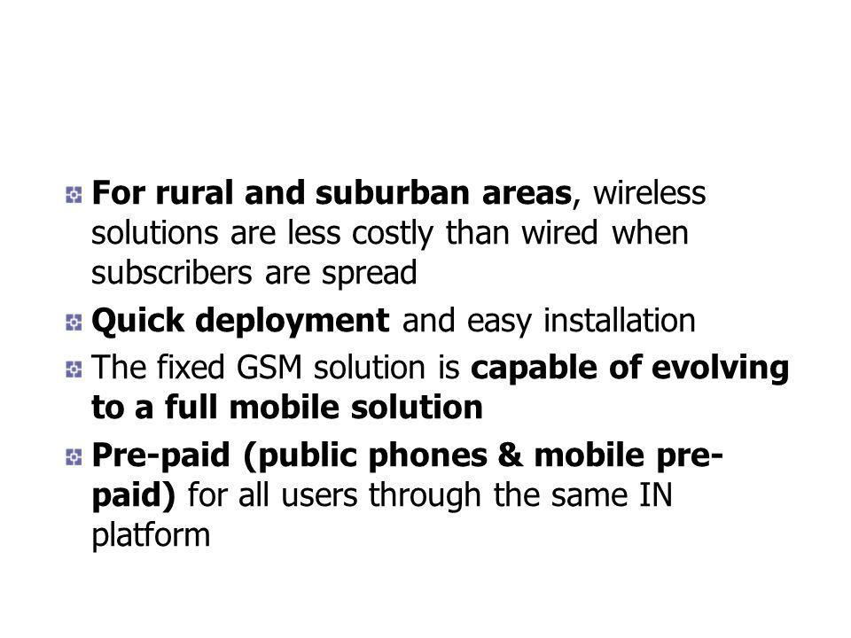 For rural and suburban areas, wireless solutions are less costly than wired when subscribers are spread Quick deployment and easy installation The fixed GSM solution is capable of evolving to a full mobile solution Pre-paid (public phones & mobile pre- paid) for all users through the same IN platform