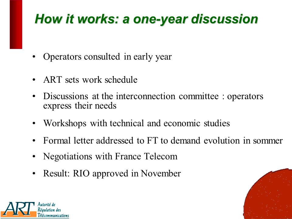 3 How it works: a one-year discussion Operators consulted in early year ART sets work schedule Discussions at the interconnection committee : operators express their needs Workshops with technical and economic studies Formal letter addressed to FT to demand evolution in sommer Negotiations with France Telecom Result: RIO approved in November
