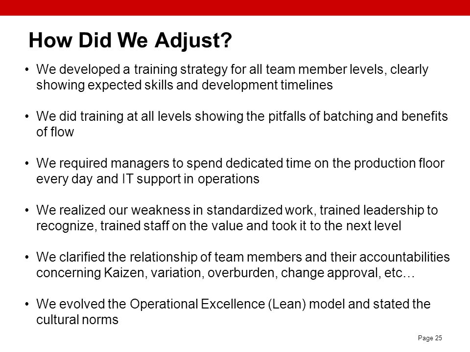 Page 25 How Did We Adjust? We developed a training strategy for all team member levels, clearly showing expected skills and development timelines We d