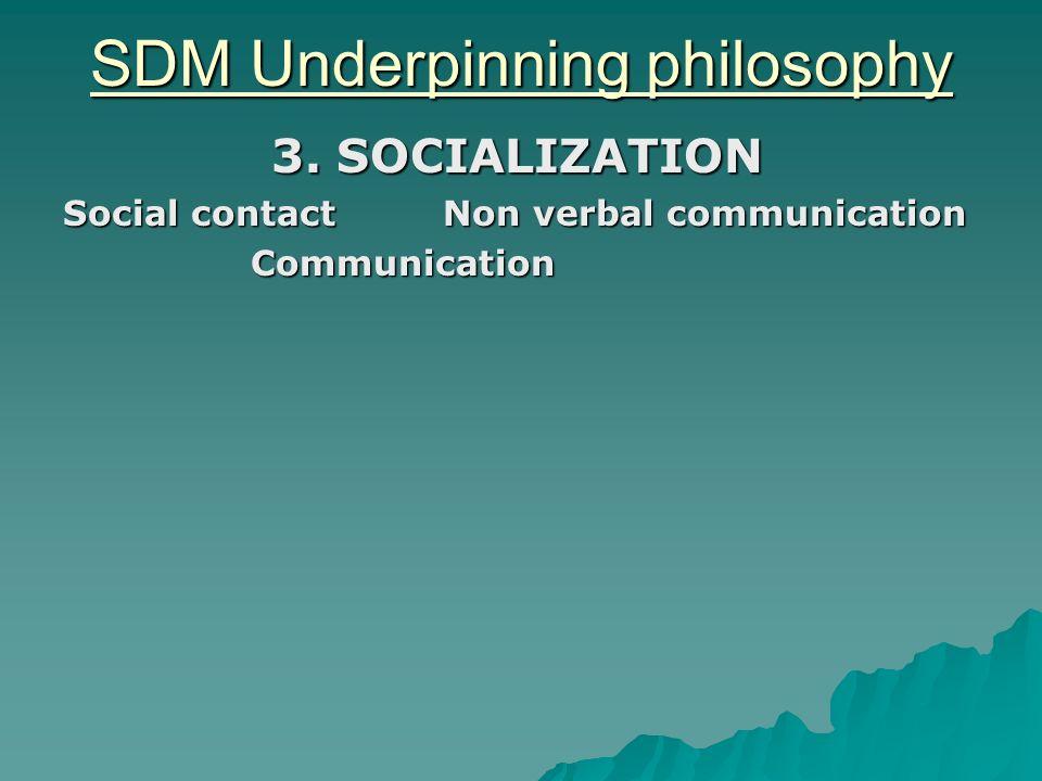 SDM Underpinning philosophy 3. SOCIALIZATION Social contact Non verbal communication Communication Communication