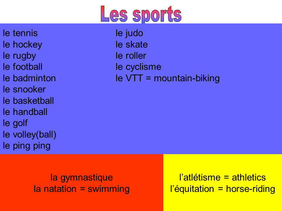 le tennisle judo le hockeyle skate le rugbyle roller le footballle cyclisme le badmintonle VTT = mountain-biking le snooker le basketball le handball le golf le volley(ball) le ping ping la gymnastique la natation = swimming latlétisme = athletics léquitation = horse-riding