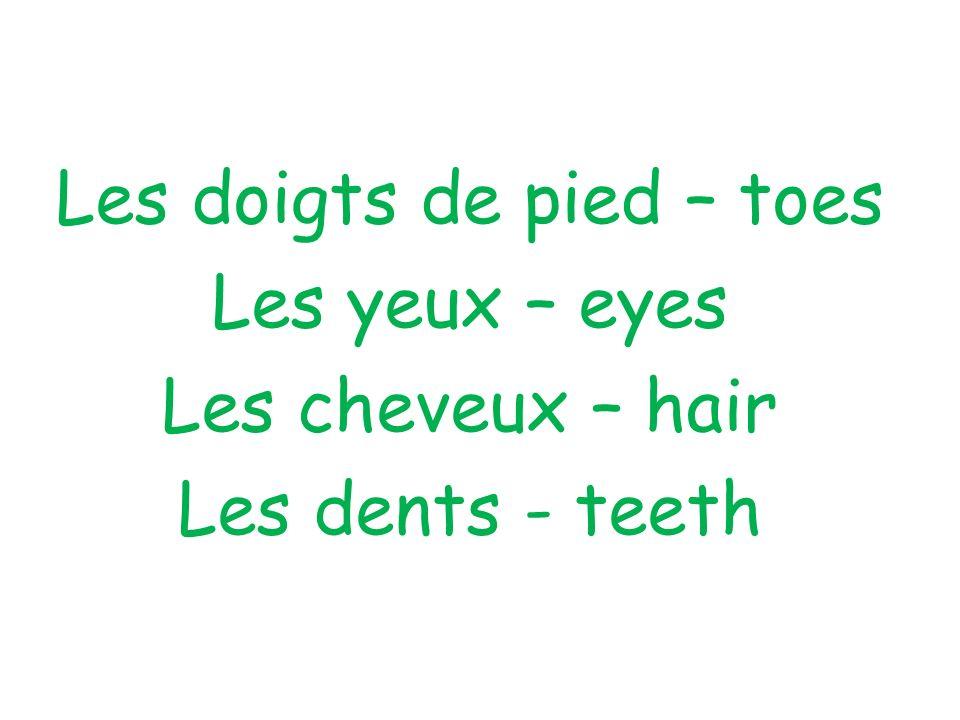 Les doigts de pied – toes Les yeux – eyes Les cheveux – hair Les dents - teeth