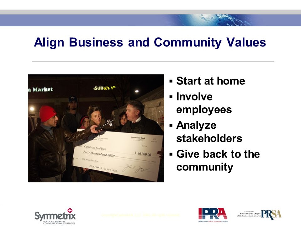 Copyright Symmetrix, LLC 2005. All rights reserved Align Business and Community Values Start at home Involve employees Analyze stakeholders Give back