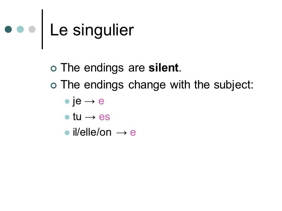 Le singulier The endings are silent. The endings change with the subject: je e tu es il/elle/on e