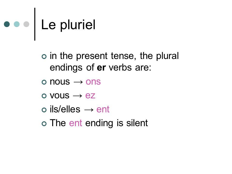 Le pluriel in the present tense, the plural endings of er verbs are: nous ons vous ez ils/elles ent The ent ending is silent