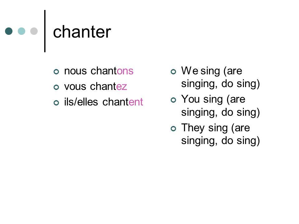 chanter nous chantons vous chantez ils/elles chantent We sing (are singing, do sing) You sing (are singing, do sing) They sing (are singing, do sing)
