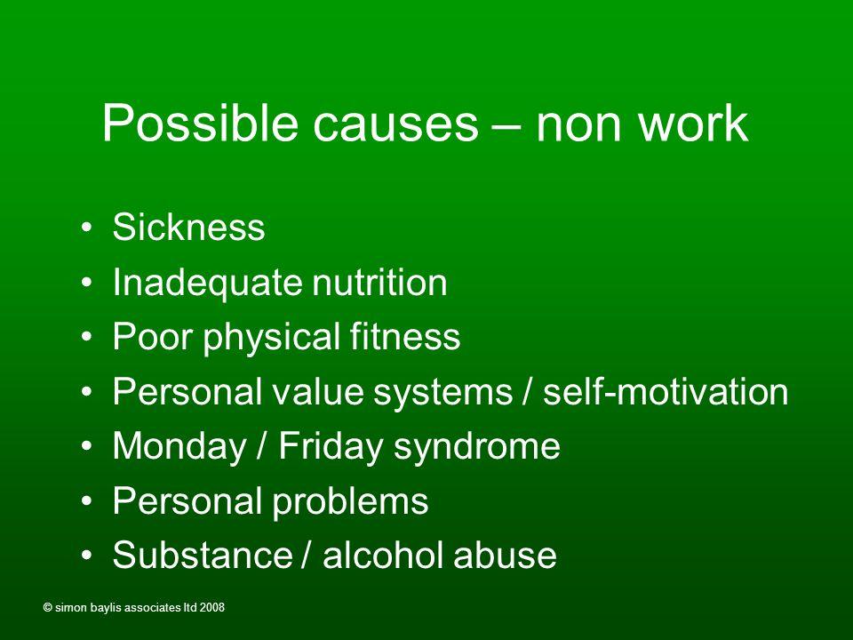 © simon baylis associates ltd 2008 Possible causes - work Low morale / job dissatisfaction / boredom Stress Poor working environment Ratio of staff to