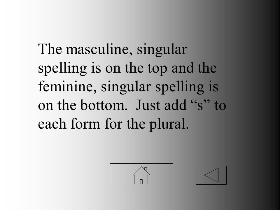 The masculine, singular spelling is on the top and the feminine, singular spelling is on the bottom. Just add s to each form for the plural.