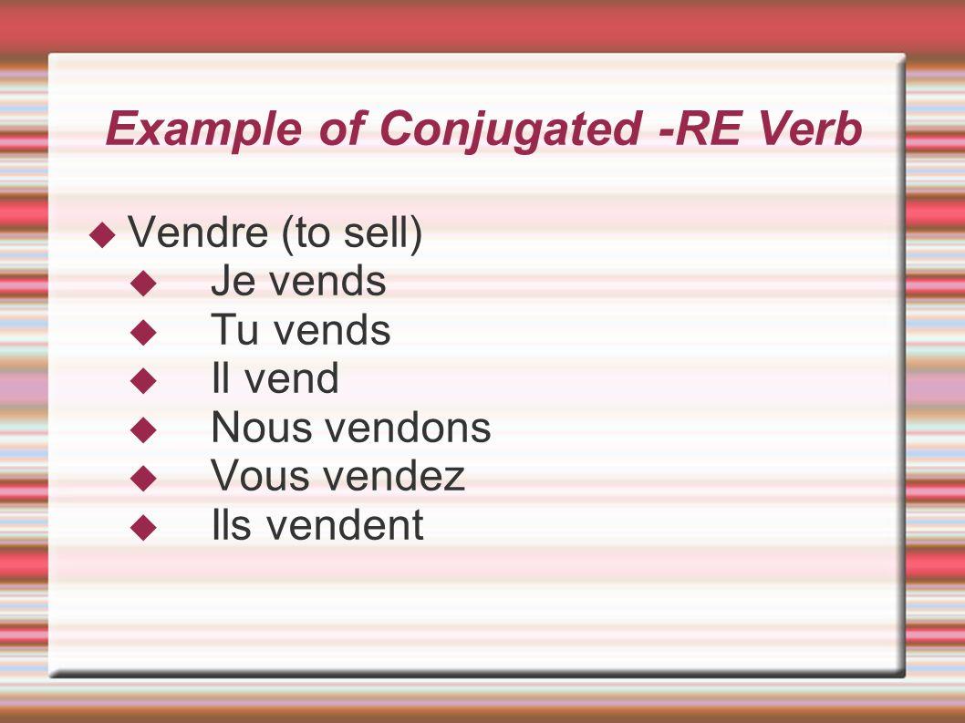 Example of Conjugated -RE Verb Vendre (to sell) Je vends Tu vends Il vend Nous vendons Vous vendez Ils vendent