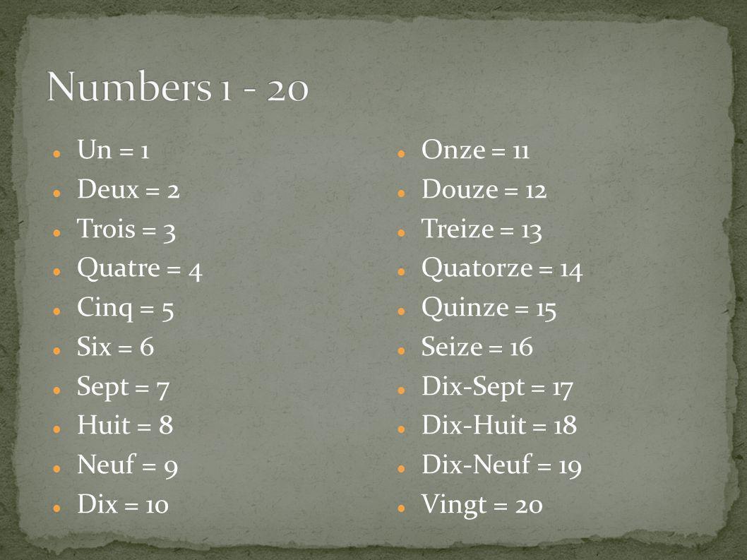 Un = 1 Deux = 2 Trois = 3 Quatre = 4 Cinq = 5 Six = 6 Sept = 7 Huit = 8 Neuf = 9 Dix = 10 Onze = 11 Douze = 12 Treize = 13 Quatorze = 14 Quinze = 15 S