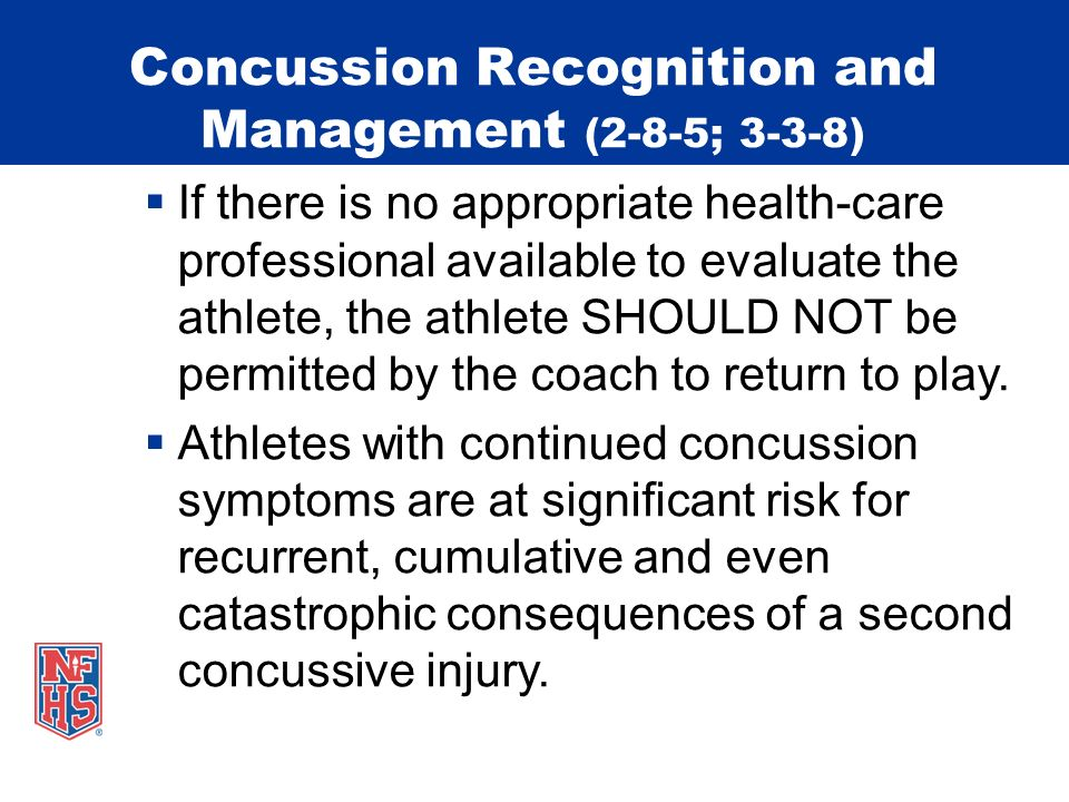 Suggested Concussion Management 1.No athlete should return to play (RTP) or practice on the same day of a concussion.