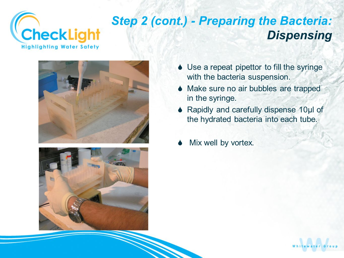 Step 2 (cont.) - Preparing the Bacteria: Dispensing Use a repeat pipettor to fill the syringe with the bacteria suspension. Make sure no air bubbles a