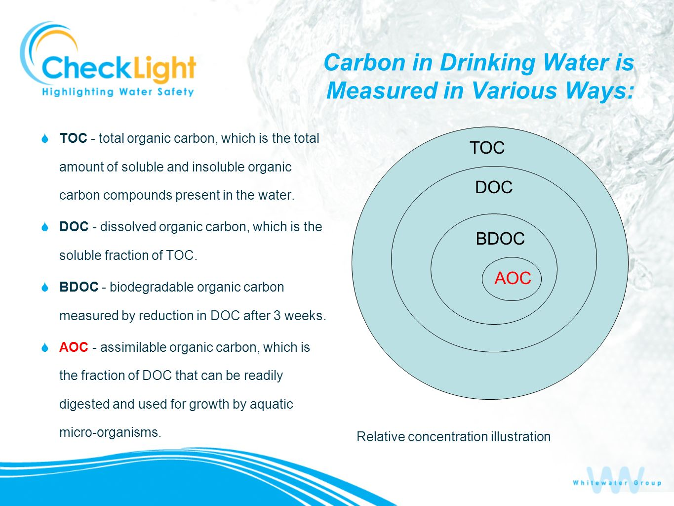 Carbon in Drinking Water is Measured in Various Ways: TOC - total organic carbon, which is the total amount of soluble and insoluble organic carbon co