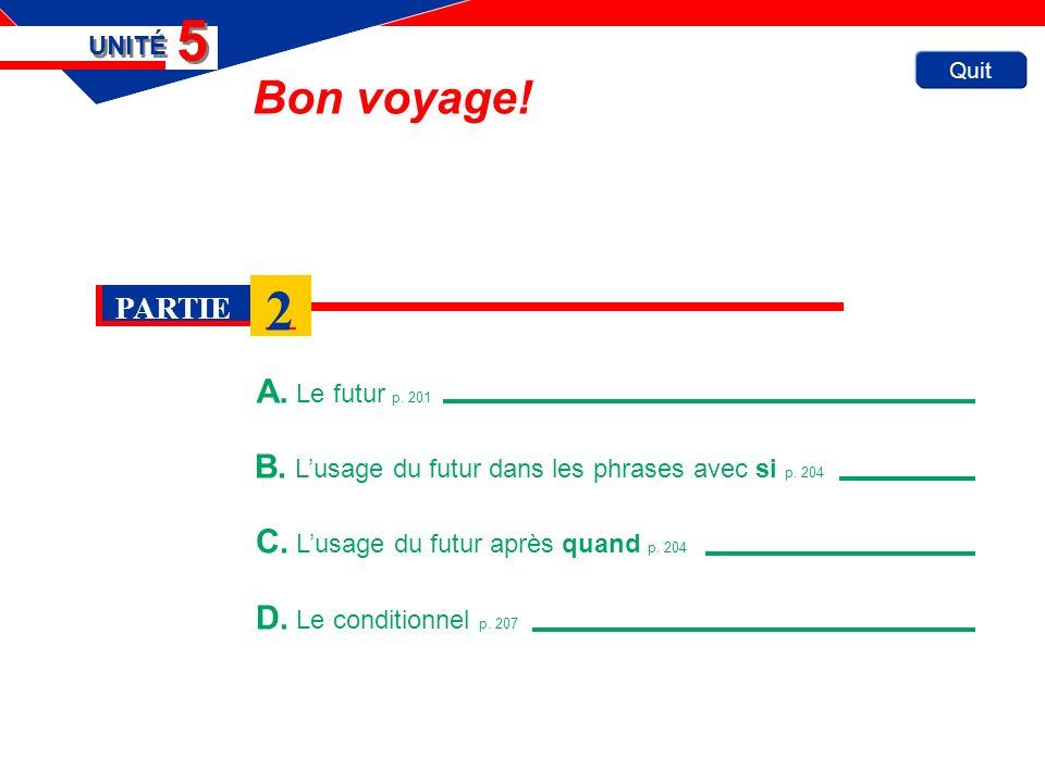 Quit Bon voyage. A. Le futur p. 201 UNITÉ 5 5 B.