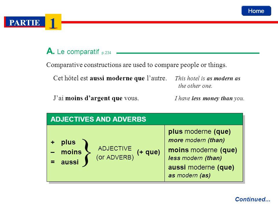 Home PARTIE 1 Comparative constructions are used to compare people or things. A. Le comparatif p.234 Continued... Cet hôtel est aussi moderne que laut