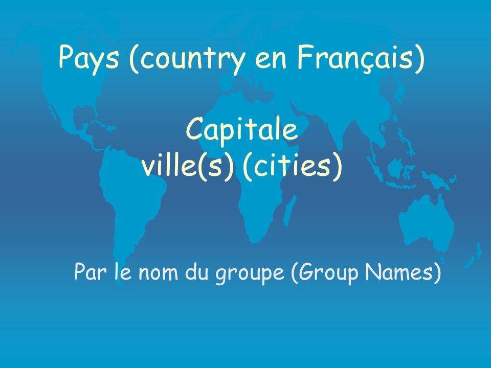 Pays (country en Français) Capitale ville(s) (cities) Par le nom du groupe (Group Names)