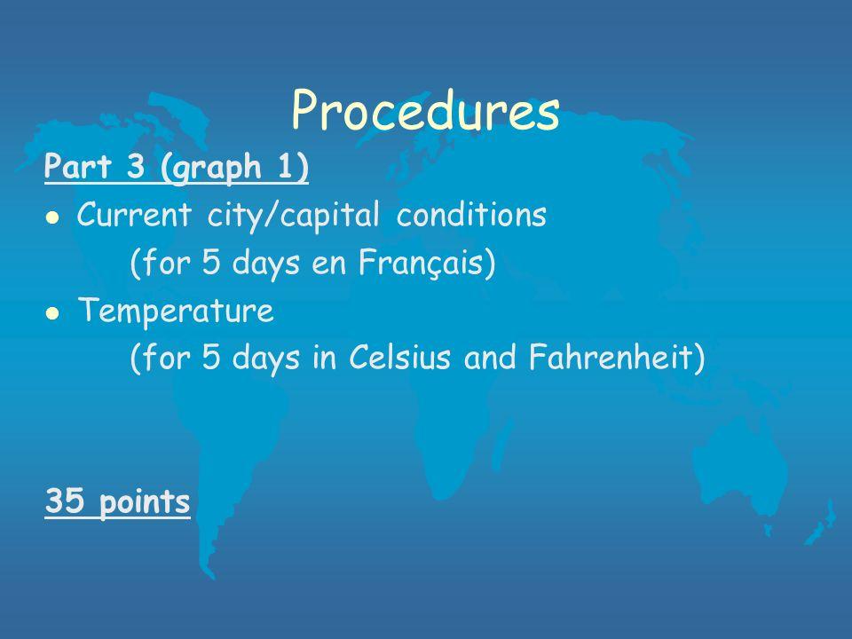 Procedures Part 3 (graph 1) l Current city/capital conditions (for 5 days en Français) l Temperature (for 5 days in Celsius and Fahrenheit) 35 points