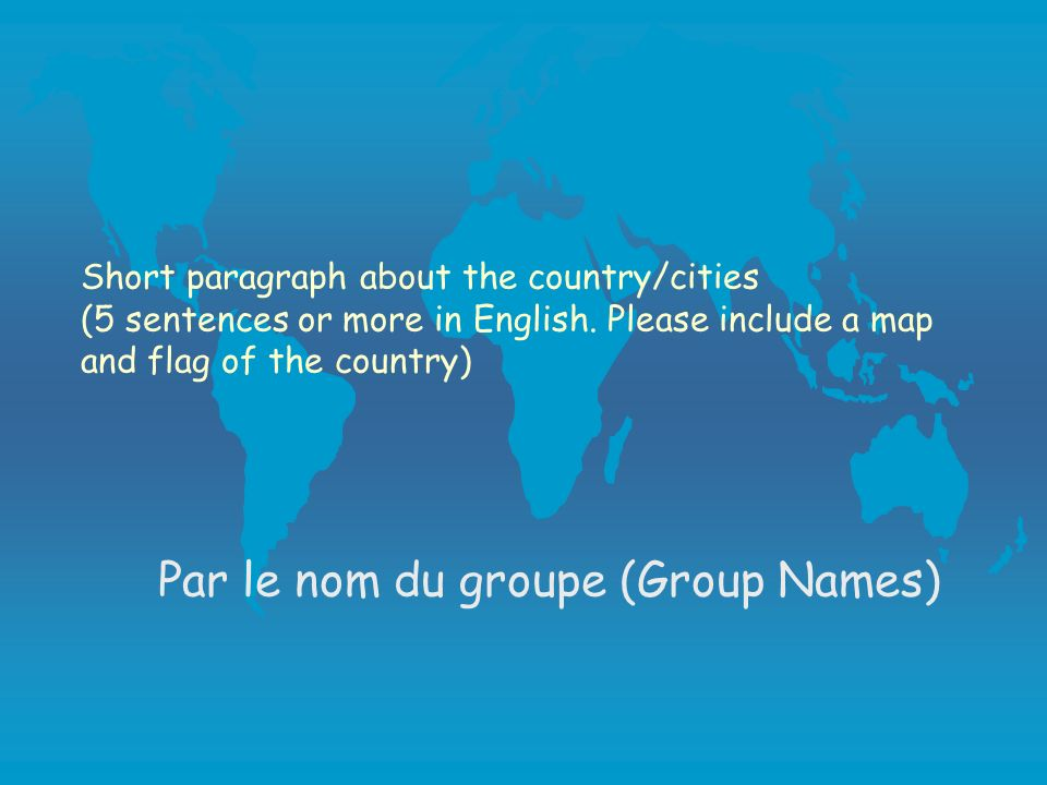 Procedures Part 2 l Short paragraph about the country/cities (5 sentences or more in English) 15 points