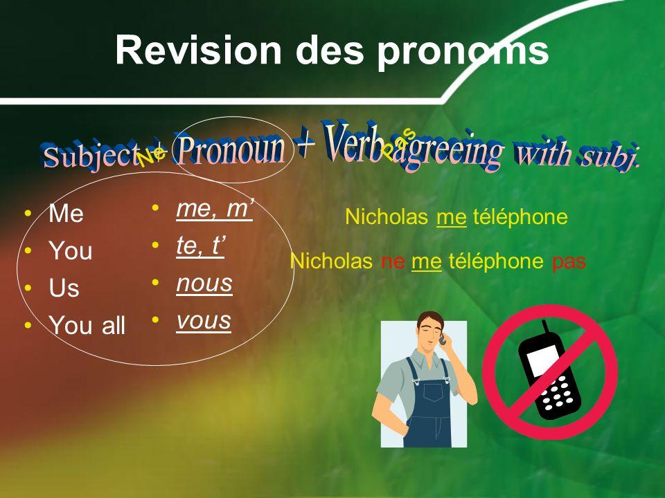 Revision des pronoms Me You Us You all me, m te, t nous vous Nicholas me téléphone Ne Pas Nicholas ne me téléphone pas