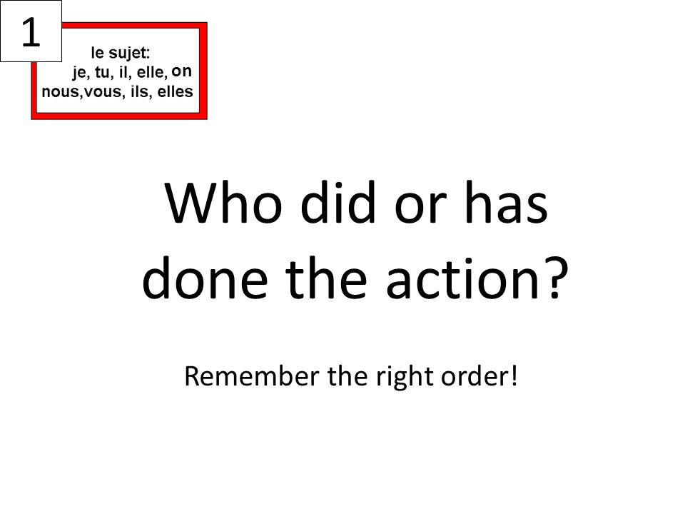 Who did or has done the action? Remember the right order! 1 on