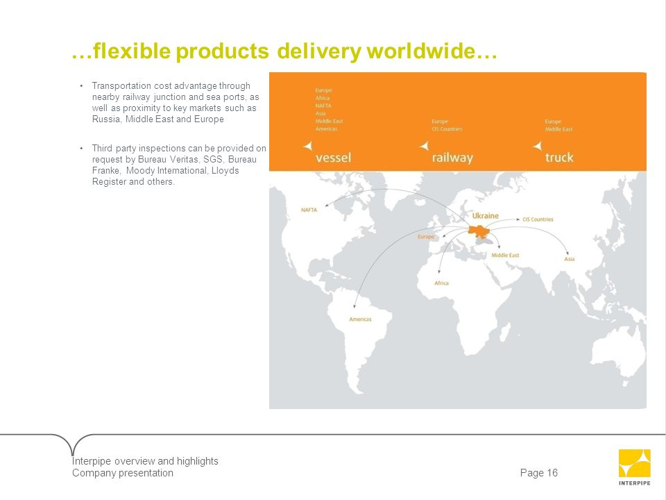 Page 16Company presentation …flexible products delivery worldwide… Transportation cost advantage through nearby railway junction and sea ports, as wel